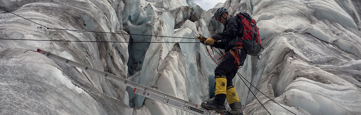Jeff Glasbrenner going over crevasse