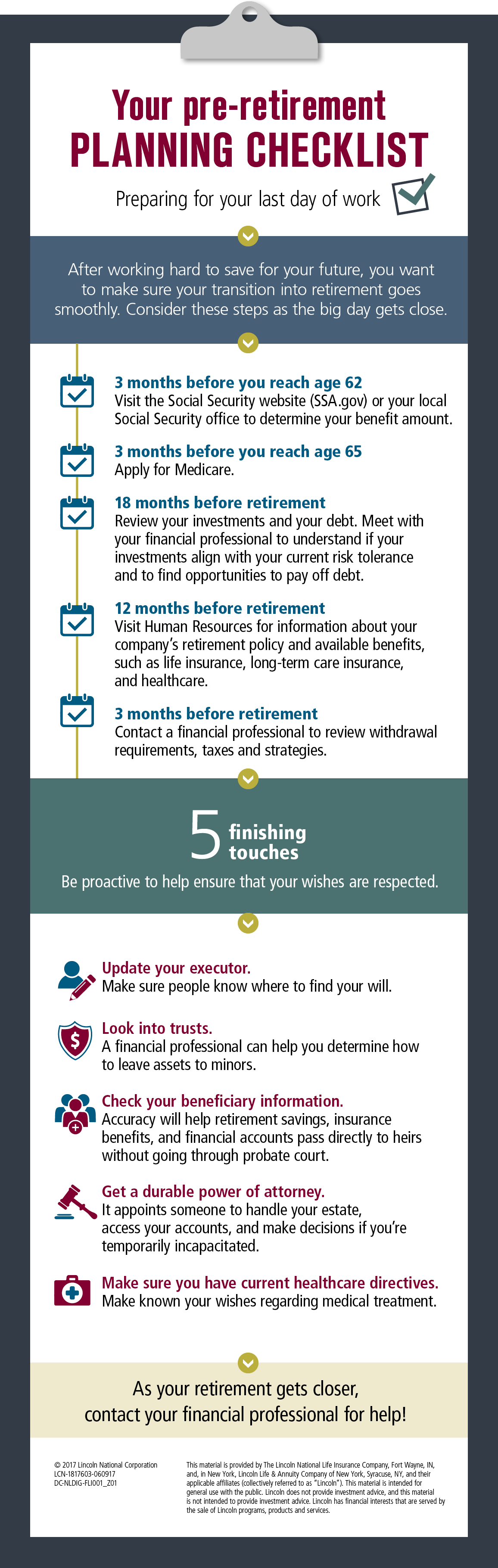 Your pre-retirement planning checklist