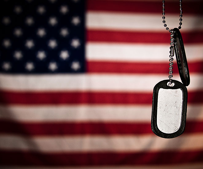 American flag and dogtag