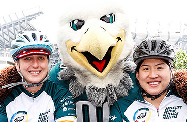 Swoop and two bicycle riders