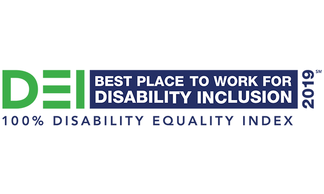 DEI Best place to work for disability inclusion 2019 - 100% Disability Equality Index